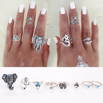 8PCS/Set Fashion Vintage Bohemian Turkish Midi Ring Set Steampunk Snake