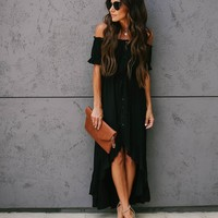 PREORDER - Flock Off The Shoulder High Low Ruffle Maxi Dress - Black