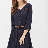 Belted Crochet-Paneled Peasant Dress