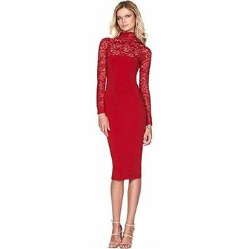 Spring Autumn Sexy Slim Long Sleeve Women Elegant High Collar Hollow Out Package Hip Lace Party Evening Bride Dress