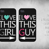 Cute Matching This Girl / Guy Black Couple iphone 4 4S / 5 Case Set