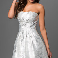 Silver Strapless Dress with Pleated Top