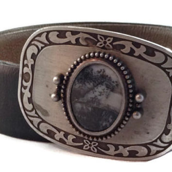 Native American Imperial Jasper, Picasso Stone, Belt Buckle with Leather Belt