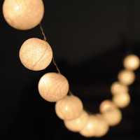 20 x white color cotton ball Bali string light wedding party display light decor room indoor outdoor