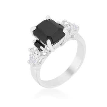 Helanna Black Onyx Three Stone Cocktail Ring  | 5ct | Cubic Zirconia | Silver