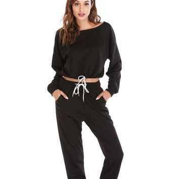 Sports Running Fitness Yoga Sets Tracksuits Drawstring Cropped Tops Long Pants Women Solid Quick Dry Workout Sportswear Clothes