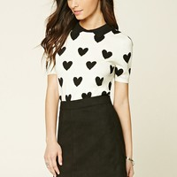 Heart Print Sweater Top