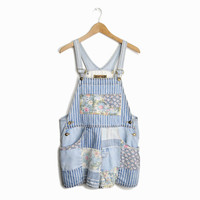 Vintage 90s Patchwork Floral Denim Overalls - women's medium/large
