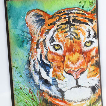 Original Handpainted Of Tiger, Watercolor Card, NOT A PRINT, Painting of a Tiger, Art, Tiger, Greeting Card, Original Painted Card.