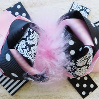 Pink Feather Damask Bow Clip