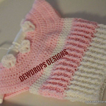 Pattern Crochet Ribbed Dress in Baby Pink and by dewdropsdesign