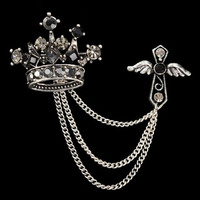 Silver Rhinestone Brooch Crown Crystal brooches for women men brooches jewelry lapel pin brooch love Accessories SM6