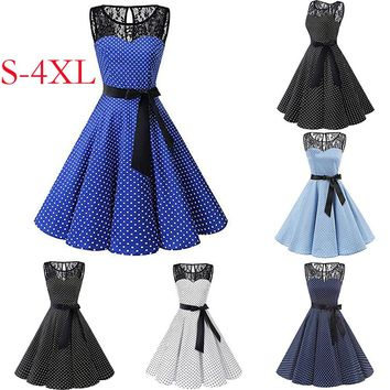 Women Sleeveless Polka Dot Lace Hepburn Vintage Swing High-Waist Pleated Dress