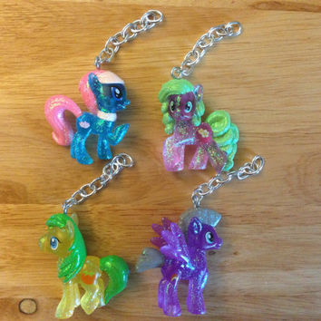 My Little Pony Keychains + Collectors Cards [4 Ponies available] - Rainbow Diamond - Friendship is Magic FIM - re-purposed toys