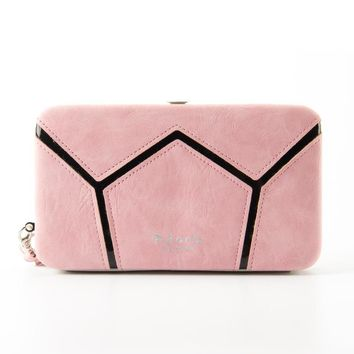 W-M2 NEW women wallet  PU Leather Purse with coin pocket femal wallet geometric  patchwork womens wallets and purse small wallet