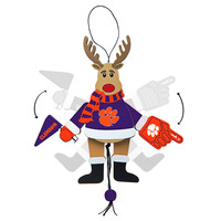 Clemson Tigers Ornament - Cheering Reindeer - Wood