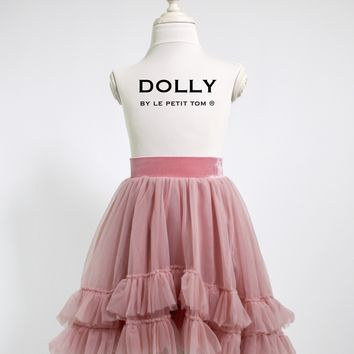 DOLLY by Le Petit Tom ® RUFFLED CHIFFON DANCE HIGH LOW TUTU dusty pink