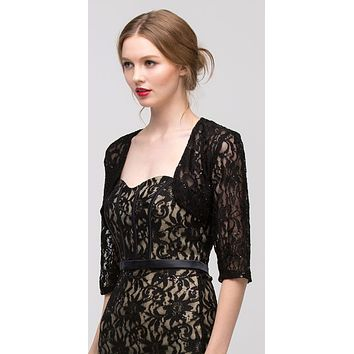 Black Mid Length Sleeve Lace Bolero Jacket