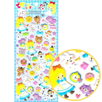 Kawaii Cartoon Alice in Wonderland Bear Bunny Cat Storytelling Stickers from Japan | Cute Fairy Tale Themed Scrapbook Decorating Supplies