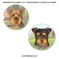 Yorkshire Terrier Absorbent Car Coaster
