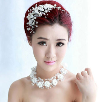 Hot Sell New Fashion Romantic Wedding Dress Headband Lace Flower Jewelry Bride Headwear Banquet Pearl Hair Accessories Gift (Size: 0, Color: White) = 1929443140