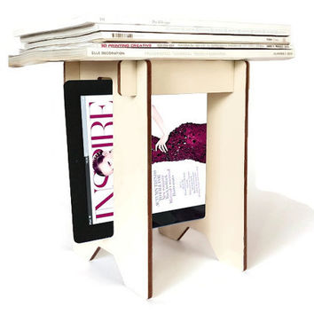 Laser cut wood magazine caddy,tablet stand,modern magazine storage,magazine holder,magazine storage,wood magazine holder,ebook tablet holder