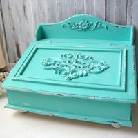 Beach Cottage Aqua Storage Box, Office Storage Box, Mail Box, Teal Ornate Decorative Box, Shabby Chic, All Purpose Storage Box