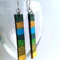 Green Blue Yellow Hanji Paper Earrings OOAK Dangle Earrings Handmade Hypoallergenic hooks Lightweight Patchwork Design