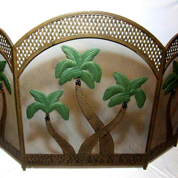 Fireplace Screen Vintage Metal Tri-Fold Palm Tree Decor