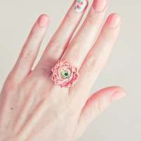 BUY NOW! 20% OFF Handmade peony ring, pink flower ring, pink peony ring, soft pink, gift for woman, rose ring, pink rose ring, fashion ring