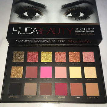 NEW Brand 18 color matte shadow kit  Huda Beauty  Textured Shadows Palette Glow Kit Powder Face Bronzer & Highlighter iluminador