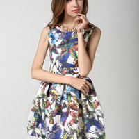 White Sleeveless Butterfly Print Mini Skater Dress
