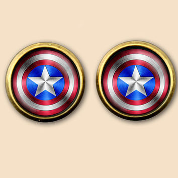 glass earrings,Shield Necklace, the avengers superhero Earrings,clip / studs / dangle vintage earrings