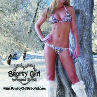 white antler camo hunting bikini. this womens cute camouflage hunting swimwear