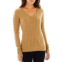 jcp™ Wool-Blend Cable Knit V-Neck Sweater