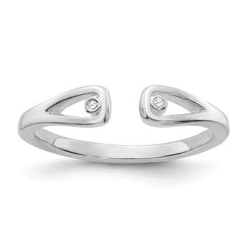 .01 Ctw Diamond Open Tear Wrap Ring in Rhodium Plated Sterling Silver