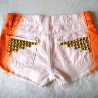 Pink and Orange Dip Dye Ombre White Denim Shorts with Gold Studs, High cut sides