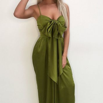 Coming To Play Green Sleeveless Spaghetti Strap Bow Wide Leg Jumpsuit