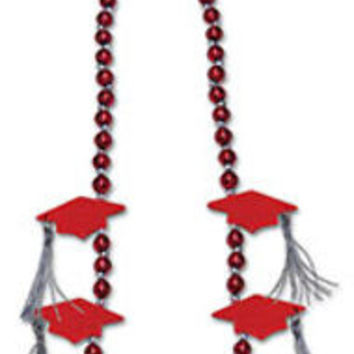 grad cap with tassel beads (red) Case of 12