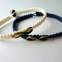 Infinity Bracelet Set, White and Navy Blue Macrame Hemp, Couples or Friendship Bracelets