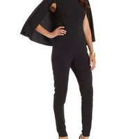 Black Caped Skinny Jumpsuit by Charlotte Russe