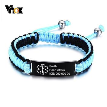 Vnox Free Custom Waterproof Sports Medical Alert ID Bracelets for Men Women Handmade Adjustable Braided Rope Stainless Steel