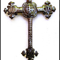 Decorative Metal Cross Wall Hook - Recycled Metal Drum Home Decor
