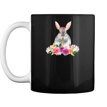Easter Bunny T-Shirt with Watercolor Flowers Womens Girls Mug