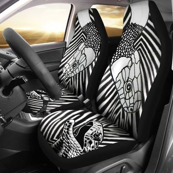 Black & White Snake Print Car Seat Covers-Free Shipping
