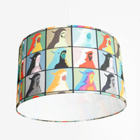 """Modern Pendant Light - 16"""" Drum - Colorful Cockatoo - Pop Art  - FREE SHIPPING in North America"""