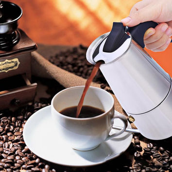 Stainless Steel Latte Percolator Coffee Maker Pot
