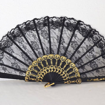 spanish fan of black lace, black fan, lace fan, spanish fan, women's gift