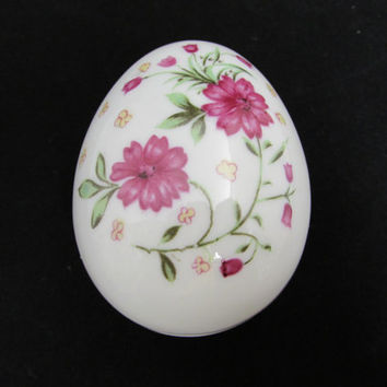 Vintage Easter Egg Trinket Box Red Flowers