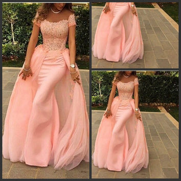 Short Sleeve Pink Off Shoulder Long  Prom Dresses